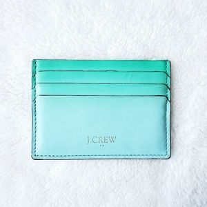 J CREW Italian Leather mint green card wallet